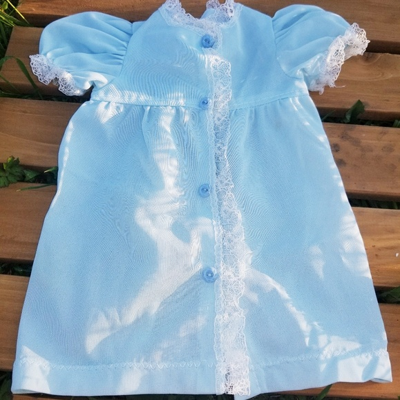 Vintage Other - Vintage Newborn Sky Blue Nylon Nightgown